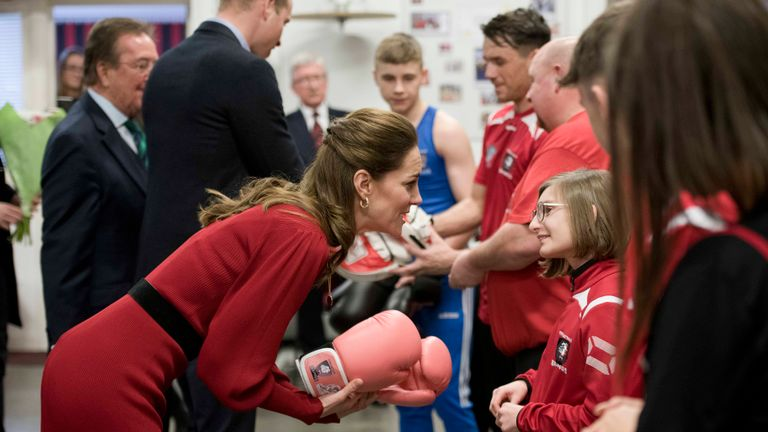 The Duchess of Cambridge during a visit to Bulldogs Boxing Club at the Bulldogs Development Centre in Port Talbot, south Wales.