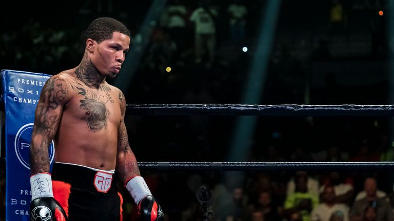 BALTIMORE, MD - JULY 27: Gervonta Davis looks across the ring before his WBA super featherweight championship fight against Ricardo Nunez at Royal Farms Arena on July 27, 2019 in Baltimore, Maryland. (Photo by Scott Taetsch/Getty Images)