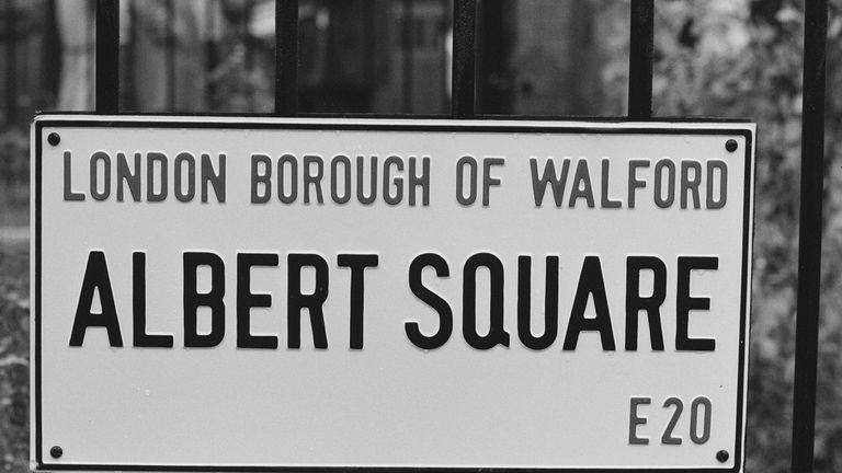'Albert Square, London Borough of Walford' fictional sign and borough in  in the BBC soap opera EastEnders, UK, 10th October 1984. (Photo by Daily Express/Hulton Archive/Getty Images)