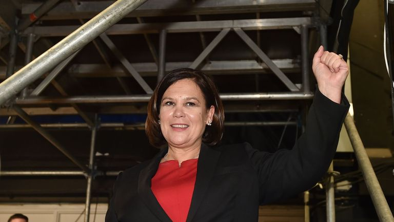 DUBLIN, IRELAND - FEBRUARY 09: Sinn Fein leader Mary Lou McDonald waves to supporters at the RDS Count centre on February 9, 2020 in Dublin, Ireland. Ireland has gone to the polls following Taoiseach Leo Varadkars decision to call a snap election. In the last general election, no party came close to a majority and it took 10 weeks of negotiations to form a government with Varadkars party Fine Gael eventually forming a coalition with Fianna Fail. Sinn Fein and their leader Mary Lou McDonald have made a late surge and could become the largest party according to the latest opinion polls. In order to win an outright majority and govern alone, parties need to win 80 seats - many political experts have predicted another hung parliament with exit polls showing the three main parties deadlocked. (Photo by Charles McQuillan/Getty Images).