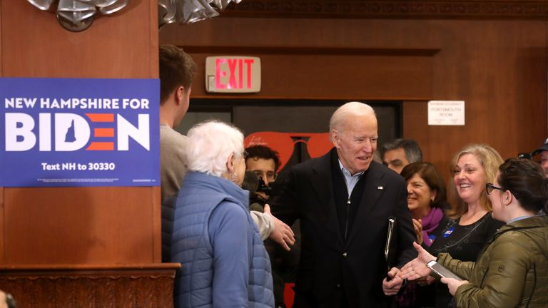 HAMPTON, NEW HAMPSHIRE - FEBRUARY 09: Democratic presidential candidate former Vice President Joe Biden arrive at a campaign event at Ashworth by the Sea on February 09, 2020 in Hampton, New Hampshire. With two days to go until the New Hampshire primary, Joe Biden is campaigning across the state. (Photo by Justin Sullivan/Getty Images)