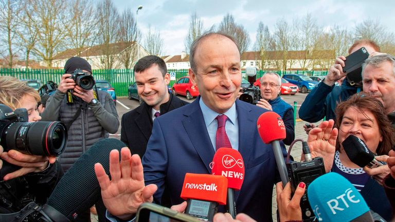 Leader of Ireland's Fianna Fail party, Micheal Martin arrives at the count centre in Cork, where he is seeking to be re-elected in south central Cork, in Ireland on February 9, 2020, the day after the vote took place in the Irish General Election. - Irish officials started tallying votes on Sunday in a general election forecast to put prime minister Leo Varadkar's party in a historic three-way tie, after a surge from republican party Sinn Fein. Counting began at 0900 GMT after an exit poll predicted Varadkar's Fine Gael party, the Fianna Fail party and Sinn Fein all received 22 per cent of first preference votes in Saturday's election. (Photo by Paul Faith / AFP) (Photo by PAUL FAITH/AFP via Getty Images)