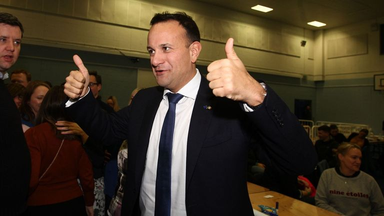 DUBLIN, IRELAND - FEBRUARY 09: Fine Gael leader Leo Varadkar celebrates after being elected on February 9, 2020 in Dublin, Ireland. Ireland has gone to the polls following Taoiseach Leo Varadkar's decision to call a snap election. In the last general election, no party came close to a majority and it took 10 weeks of negotiations to form a government with Varadkar's party Fine Gael eventually forming a coalition with Fianna Fail. Sinn Fein and their leader Mary Lou McDonald have made a late surge and could become the largest party according to the latest opinion polls. In order to win an outright majority and govern alone, parties need to win 80 seats - many political experts have predicted another hung parliament. (Photo by Donall Farmer/Getty Images)