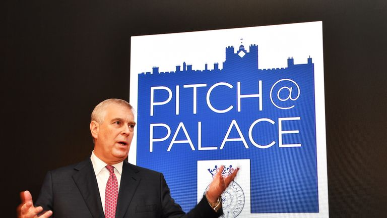 The Duke of York speaks during a Pitch@Palace event, an initiative launched in 2014 to support entrepreneurs, at St James's Palace in London.