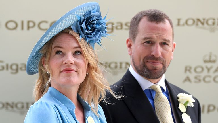 Autumn Phillips (left) and Peter Phillips (right) during day five of Royal Ascot at Ascot Racecourse.