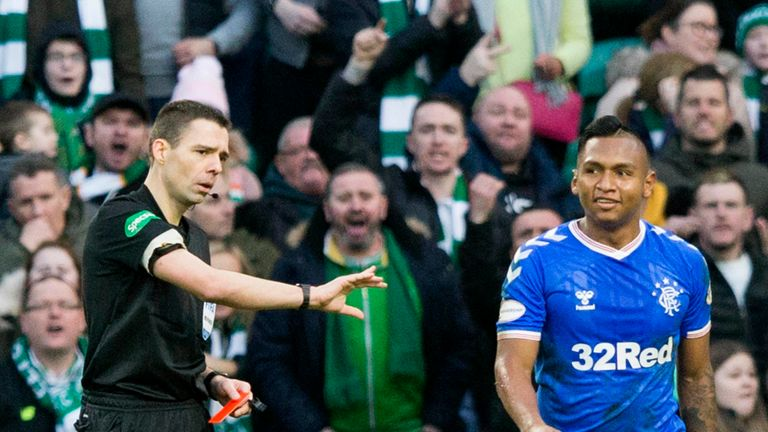 Rangers' Alfredo Morelos after being sent off during the Ladbrokes Scottish Premiership match Celtic Park, Glasgow.