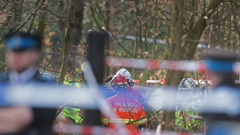 Emergency services near Black Wood in Woolton, Liverpool, attending to a dog walker who has been seriously injured by a falling tree.