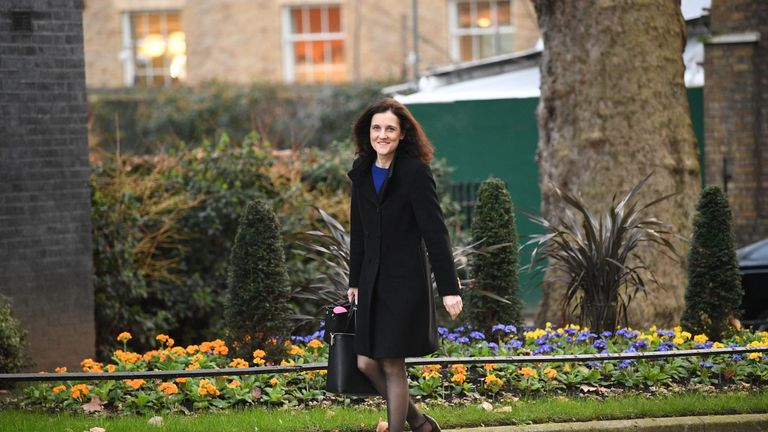Environment, Food and Rural Affairs Secretary Theresa Villiers arrives for a cabinet meeting at 10 Downing Street, London.