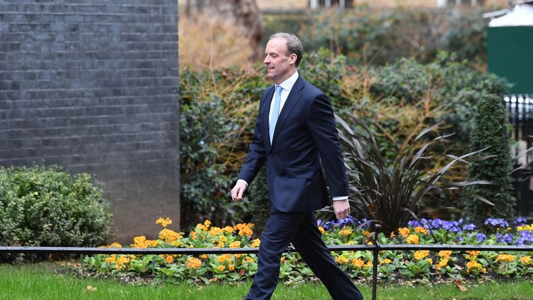 Foreign Secretary Dominic Raab arriving in Downing Street, London, as Prime Minister Boris Johnson reshuffles his Cabinet.