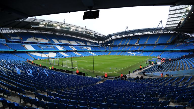 A general view of the stadium before the FA Cup fourth round match at the Etihad Stadium, Manchester.