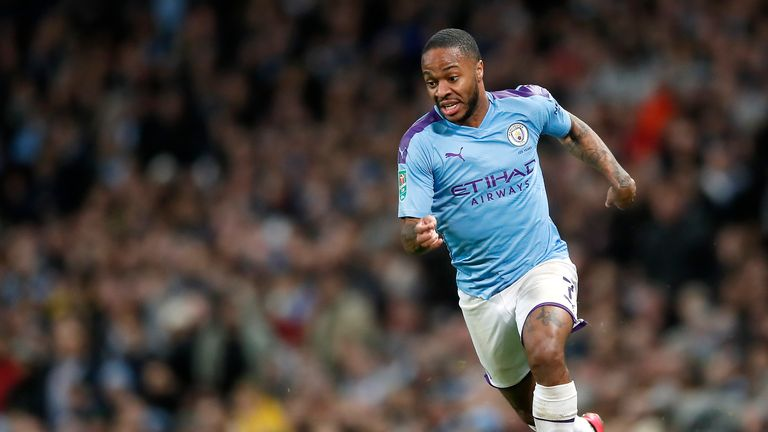 Manchester City's Raheem Sterling during the Carabao Cup Semi Final, second leg match at the Etihad Stadium, Manchester.