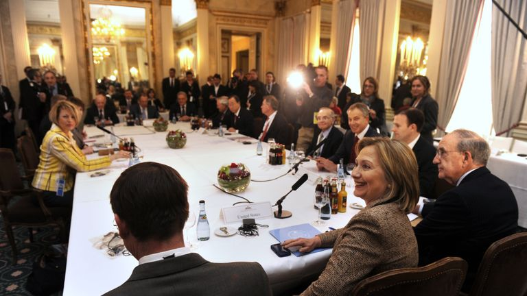 US Secretary of State Hillary Clinton (C), US Middle East envoy George Mitchell (R) and the Middle East Quartet special envoy Tony Blair (3rd R) sit down for a group meeting of the Middle East Quartet at the 47th Munich Security Conference at the Bayerischer Hof hotel Munich, February 5, 2011.  AFP PHOTO/ODD ANDERSEN (Photo credit should read ODD ANDERSEN/AFP via Getty Images)