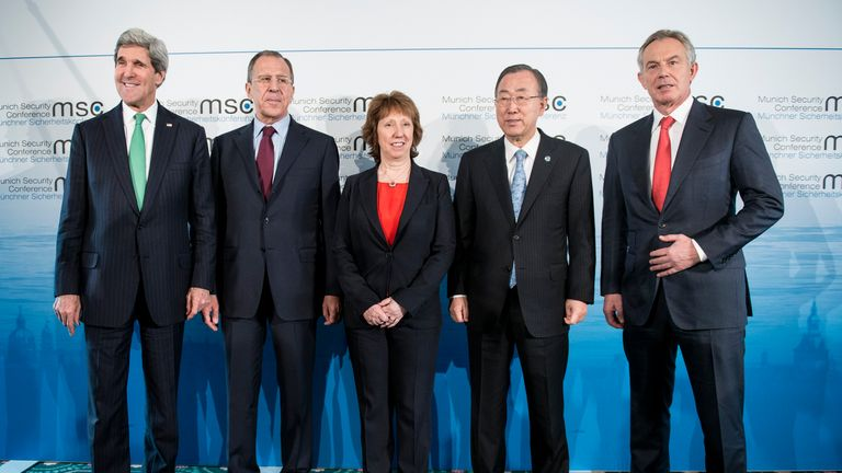 "(L-R) US Secretary of State John Kerry, Russian Foreign Minister Sergey Lavrov, European Union High Representative for Foreign Affairs and Security Policy Catherine Ashton, Secretary-General of the United Nations Ban Ki-moon and former Prime Minister of the United Kingdom Tony Blair pose for a photo before a meeting at the Munich Security Conference at the Bayerischer Hof Hotel February 1, 2014 in Munich, southern Germany. The annual meeting of the global ""strategic community"" was set to deal with thorny international issues, from the Syrian war and Ukraine's turmoil to Iran's nuclear programme and US online surveillance. AFP PHOTO / POOL / BRENDAN SMIALOWSKI        (Photo credit should read BRENDAN SMIALOWSKI/AFP via Getty Images)"