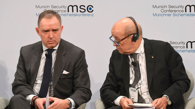 British National Security Adviser to the Prime Minister Mark Sedwill (L) and French Foreign Minister Jean-Yves Le Drian attend the 56th Munich Security Conference (MSC) in Munich, southern Germany, on February 16, 2020. - The 2020 edition of the Munich Security Conference (MSC) takes place from February 14 to 16, 2020. (Photo by Christof STACHE / AFP) (Photo by CHRISTOF STACHE/AFP via Getty Images)