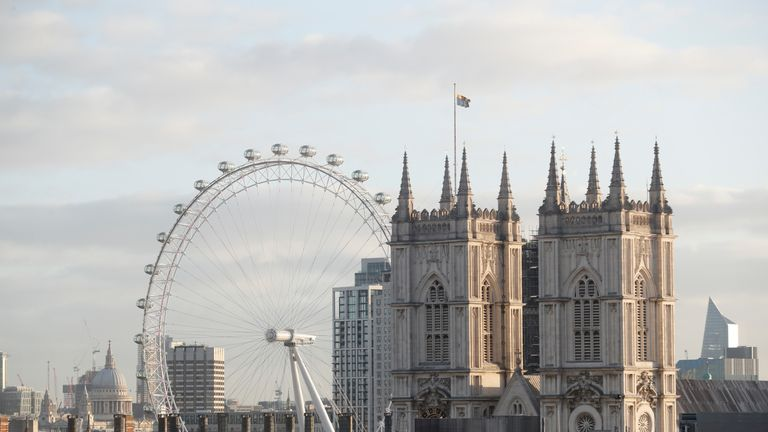 General view of the London Eye and Westminster Abbey in Westminster, London.