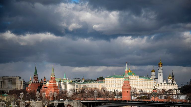 Moscow's Kremlin and the Moskva River are pictured on February 17, 2019. (Photo by Alexander NEMENOV / AFP)        (Photo credit should read ALEXANDER NEMENOV/AFP via Getty Images)