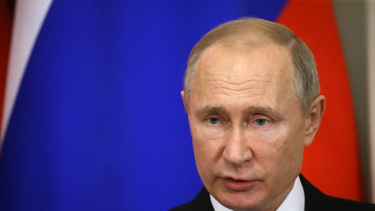 MOSCOW, RUSSIA - JANUARY, 22 (RUSSIA OUT)  Russian President Vladimir Putin speaks during the press conference with Japanese Prime Minister Shinzo Abe at the Kremlin on January 22, 2019 in Moscow, Russia. Japanese Prime Minister Shinzo Abe has arrived to Moscow to talk about the Kuril Islands dispute. (Photo by Mikhail Svetlov/Getty Images)