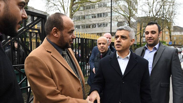 Mayor of London Sadiq Khan (centre) meets mosque Director General Dr Ahmad Al-Dubayan (left) at the London Central Mosque, near Regent's Park, north London, where a man was arrested on suspicion of attempted murder on Thursday after police were called to reports of a stabbing.