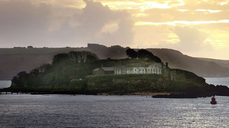 General view of Drake's Island, situated in The Sound off the coast of Plymouth, Devon,