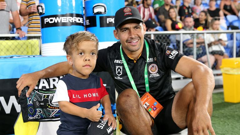 GOLD COAST, AUSTRALIA - FEBRUARY 22: Quaden Bayles looks on with Cody Walker of the Indigenous All-Stars before the NRL match between the Indigenous All-Stars and the New Zealand Maori Kiwis All-Stars at Cbus Super Stadium on February 22, 2020 on the Gold Coast, Australia. (Photo by Jason McCawley/Getty Images)