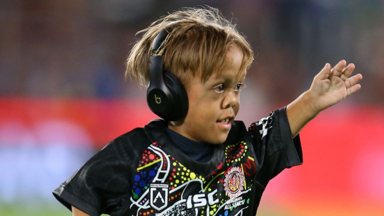 GOLD COAST, AUSTRALIA - FEBRUARY 22: Quaden Bayles runs onto the field before the NRL match between the Indigenous All-Stars and the New Zealand Maori Kiwis All-Stars at Cbus Super Stadium on February 22, 2020 on the Gold Coast, Australia. (Photo by Jason McCawley/Getty Images)