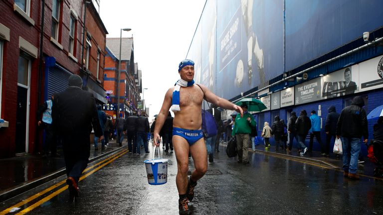 LIVERPOOL, ENGLAND - APRIL 07:  Speedo Mick is seen arriving to the stadium prior to the Premier League match between Everton and Liverpool at Goodison Park on April 7, 2018 in Liverpool, England.  (Photo by Julian Finney/Getty Images)