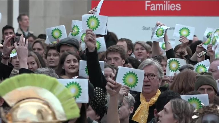 Climate activists protest against BT support for exhibition at British museum