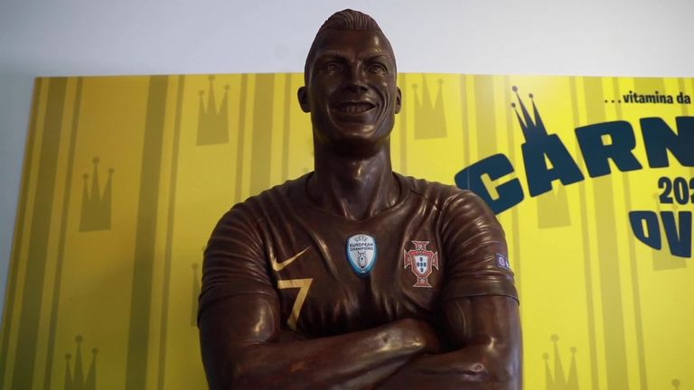 Image result for Chocolate Ronaldo Statue unwrapped