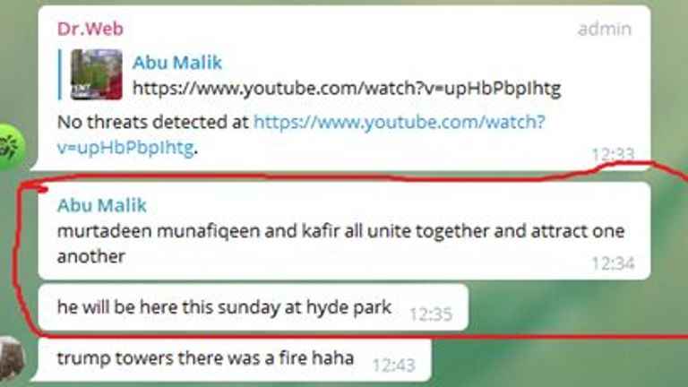 Amman mentioned Hyde Park in his online conversations