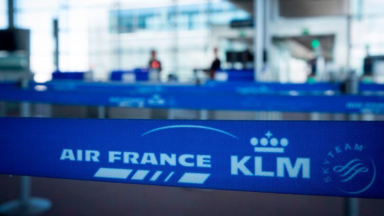 This photograph taken on August 6, 2018, shows the logo of Air France KLM in Terminal 2E at Roissy-Charles de Gaulle Airport, north of Paris