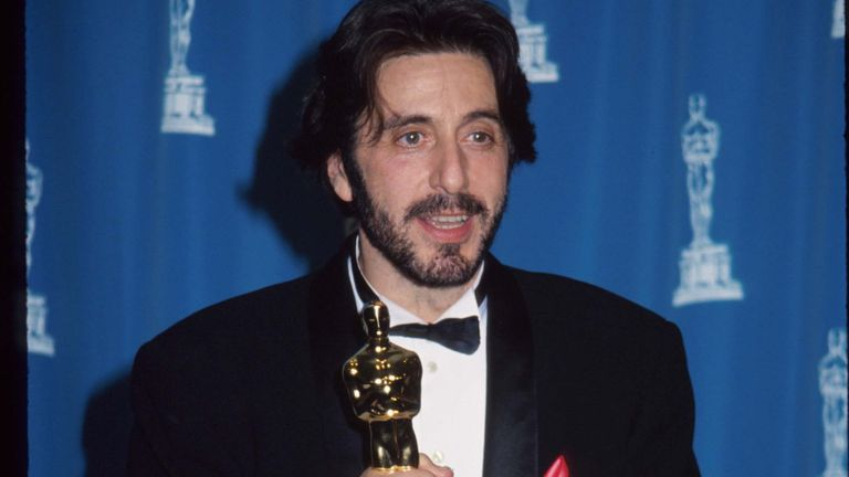 Actor Al Pacino holds an award statuette at the 65th annual Academy Awards March 29, 1993 in Los Angeles, CA. Pacino received the Best Actor award for his role in Scent of a Woman