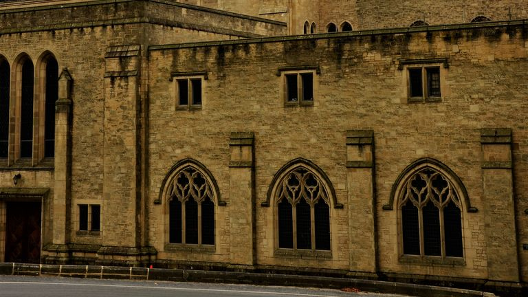 Ampleforth Abbey, Medieval Architecture, Yorkshire stock photo