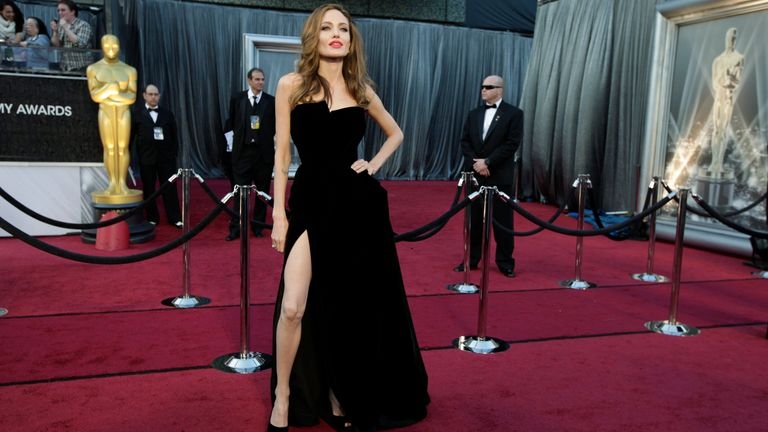 Angelina Jolie poses at the 84th Academy Awards