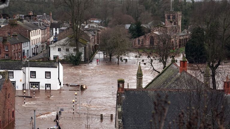Flooded streets in Appleby-in-Westmorland, Cumbria, as Storm Ciara hits the UK