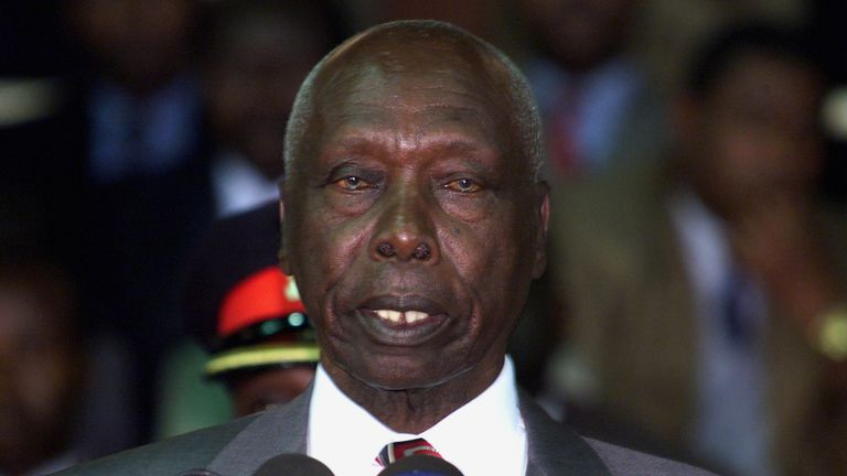 FILE PHOTO: Kenyan President Daniel arap Moi addresses supporters of the ruling party KANU and delegates during a rally to endorse the party's official candidate for elections due in December October 14, 2002. REUTERS/Antony Njuguna/File Photo