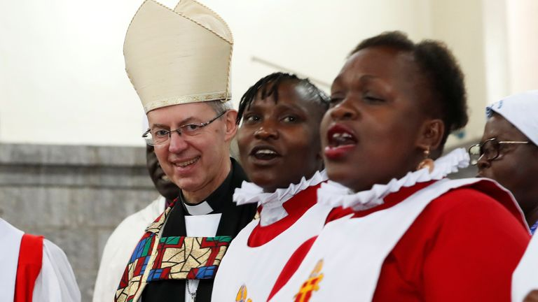 Archbishop of Canterbury Justin Welby joins the choir members as he attends a special service at the Anglican Church of Kenya (ACK) St. Stephen's Cathedral along Jogoo road in Nairobi, Kenya January 26, 2020