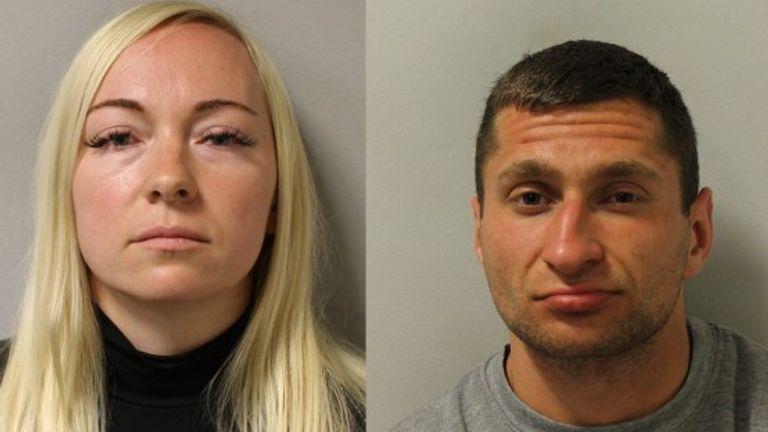 Asta Juskauskiene (left) and Mantas Kvedaras have been jailed for the murder of her ex-husband, Giedrius Juskauskas. Pic: Met Police