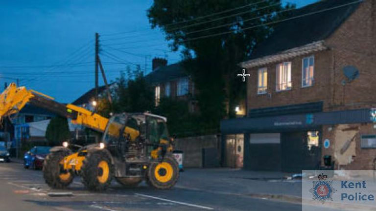 A digger was used during an ATM raid in Dartford