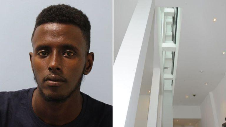 Yusef Ali, 19, pushed a woman off a fourth-floor inside balcony