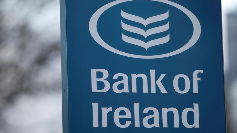 Signage is seen outside a branch of the Bank of Ireland in Dublin, Ireland 6/2/20
