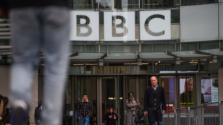 A general view of the exterior of BBC Broadcasting House on February 05, 2020 in London, England