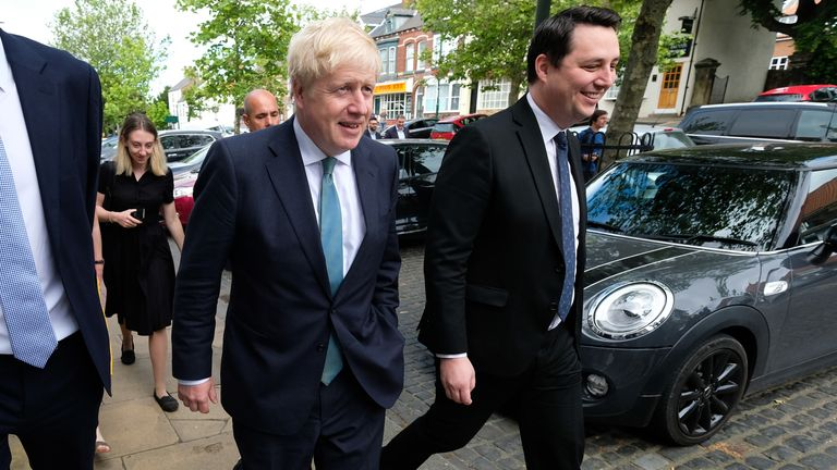 Tory Tees Valley mayor Ben Houchen is seen campaigning in the market town of Guisborough with Boris Johnson in 2019