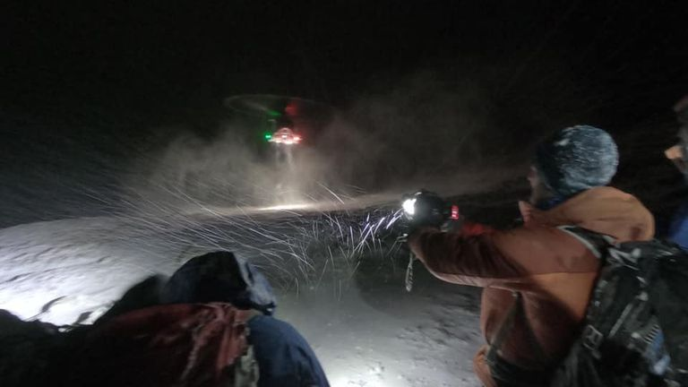 The ill-equipped adventurers were airlifted to safety. Pic: Lochaber Mountain Rescue