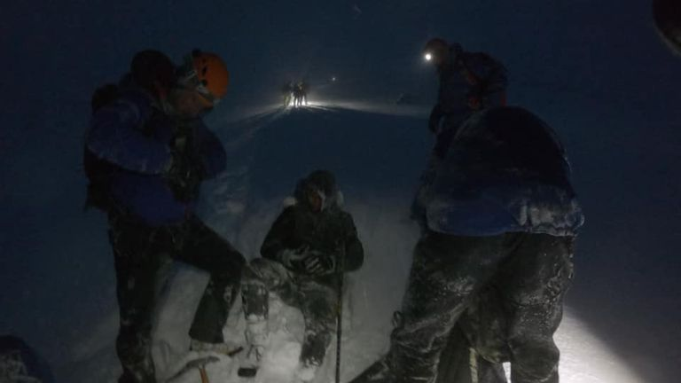 Blizzard-like conditions made for a difficult rescue. Pic: Lochaber Mountain Rescue