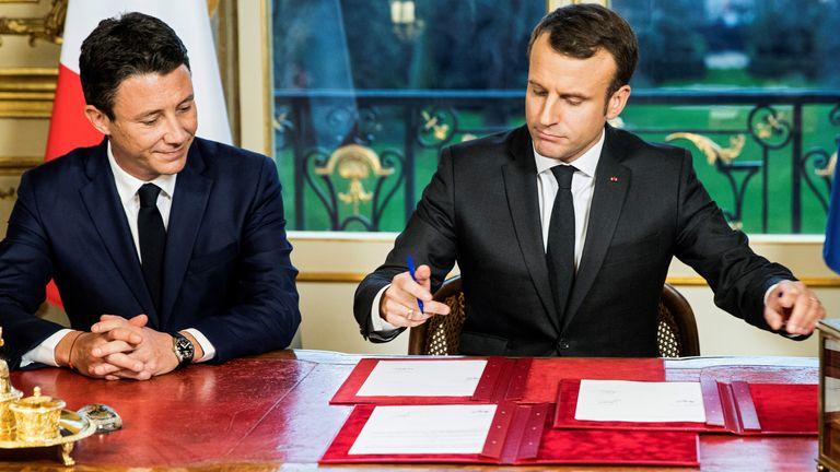 French President Emmanuel Macron and Benjamin Griveaux