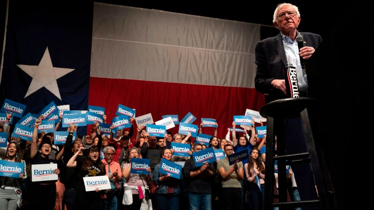 Democratic presidential hopeful Vermont Senator Bernie Sanders speaks during a rally at the Abraham Chavez Theater on February 22, 2020 in El Paso, Texas
