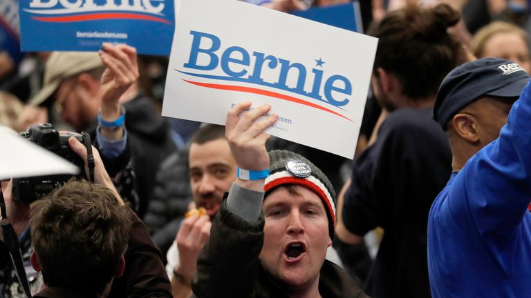 A Bernie Sanders supporter cheers and waves a poster in New Hampshire