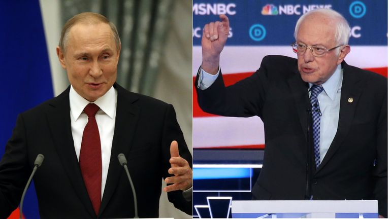 Bernie Sanders (right) has condemned reported election interference from Vladimir Putin (left)