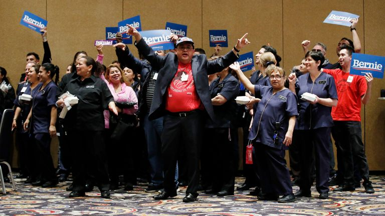Supporters of Democratic presidential candidate Bernie Sanders