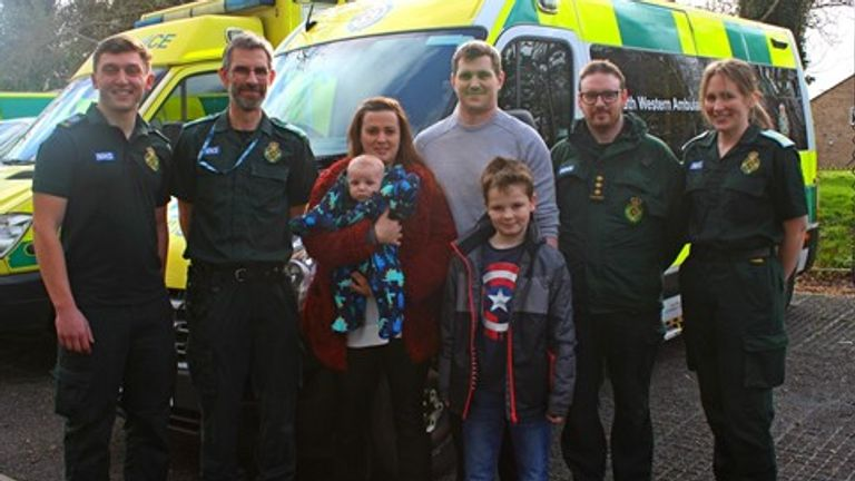 Jayne Rowland (centre) and Joshua Mogg (centre right) were reunited with the medics who helped them